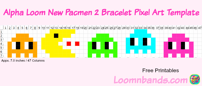 alpha loom new pacman2 bracelet pixel art template loom community an educational do it yourself rainbow loom and crafting community