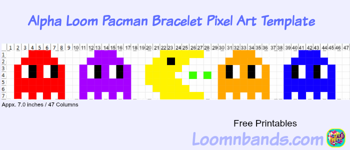 alpha loom new pacman bracelet pixel art template loom community