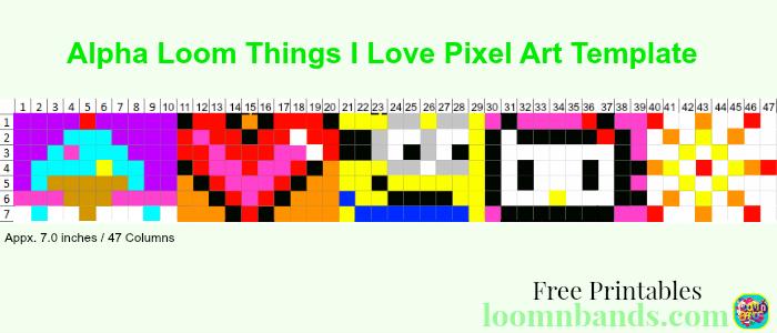 alpha loom things i love icecrean mionions hello kitty fireworks bracelet pixel art template january 22 2016